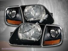 1997-2000 01 02 03 FORD EXPEDITION F150 BLACK HEADLIGHTS + CORNER LIGHTS BLACK