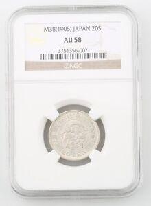 1905 Japan 20 Sen Silver Coin Slabbed AU 58 M38 NGC Graded Y 24 20S