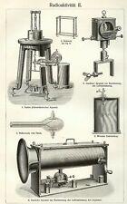STICH um 1910 RADIOAKTIVITÄT Curies Apparat Elektroskop Radiumuhr Elektrometer