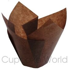 100PCS BROWN STANDARD CAFE STYLE PAPER MUFFIN CUPCAKE WRAPS CUPS CASES LINERS