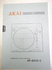 Vtg Akai Service/Repair Manual~AP-Q310/C Turntable~Original