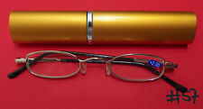 Unisex Glasses Reading Metal Gold + 2,0 with Case Small #57