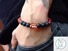 Men Carnelian/Onyx Skull Bracelet with Swarovski Crystal 7-8inch Elasticated