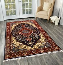Hand knotted Carpet 100% Wool Blue Red Multi-color Carpet 4'X6' Vintage Area Rug