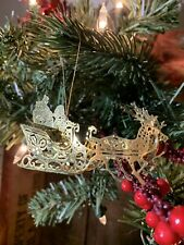 Vintage Gold Filigree Christmas Ornament Santa Sleigh Reindeer