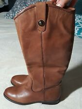 Womens Carlos Santana Fawn Leather Riding Boots Size 5 MSRP $189
