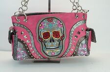 NEW PINK PURSE WITH BLING SUGAR SKULL WITH GUN POCKET ON BACK