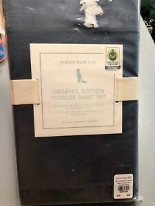 Pottery Barn Kids baby Sheet Set Toddler Organic Cotton Navy Blue New