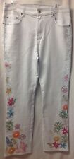 DG2 New White Straight Legs Jeans  Size 10 With Beads,pearls,sequins