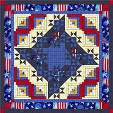Quilt Kit/Patriotic Friendship Flag Medallion/Pre-cut Fabric/EXPEDITED SHIP