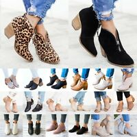 Womens Ladies Zipper Shoes Chunky Ankle Booties Pointed Toe Mid Block Heel Boots