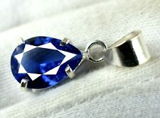Blue Tanzanite Pendant 6.90 Ct Natural Pear 925 Sterling Silver Certified L9539