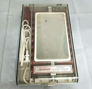 Vtg Sunbeam Curler Travel Console Hot Rollers Mirror Pageant Dance Vacation
