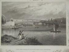 Upper Ferry Bridge & Water Works, Philadephia (c1860) Antiquarian Engraving USA