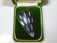 Vintage Modernist Black Oxidized Silver tone Brooch Pin 1b 84