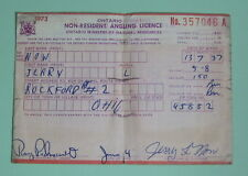 1973 Ontario Canada Non Resident Angling Fishing License Permit