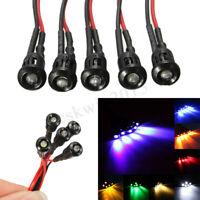5/10/50Pcs  Pre-wired 3mm LED Light Lamp Bulb + Plastic Bezel Holder 12V 8  A