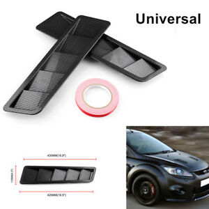 Pair of Carbon Fiber Look Style Hood Vent Kit Louver Cooling Panel ABS Universal