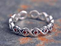 Silberring Geflochten Vintage Schmal Mit stein Rot Granat Ring Silber 925