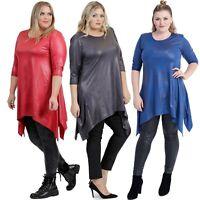 Übergröße - MAGNA Kleid Tunika | Leder-Optik-Schlankmachend-Lagenlook - 44 - 58