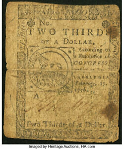 Nice Feb. 17 1776 $2/3 FUGIO Colonial Note! Ben Franklin Inspired Design!