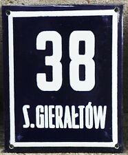 Large old Polish house number 38 door gate plate plaque enamel French blue sign