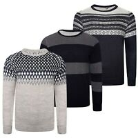 Mens Jumper Knitted Long Sleeve Pullover Sweater Aztec Pattern Vintage Crew Neck