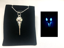 RAVEN Skull GLOW in the DARK Antique Silver Charm Pendant Necklace Crow Bird