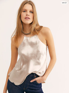 Intimately Free People silver satin high neck strappy tie back L'Amour cami S