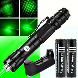 Military 50Mile Green 1mw Laser Pointer Pen Light Beam Adjust Zoom+18650+Charger
