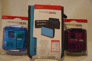 Power A Nintendo 3DS Folio Case Blue & Compact Game Case Blue & Pink Bundle
