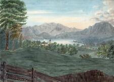 LAKE OF LUCERNE - KUSNACHT - MOUNT PILATUS SWITZERLAND Painting E CAMPBELL 1821