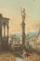 Continental Miniature - 19th Century Watercolour, Classical Italian Ruins