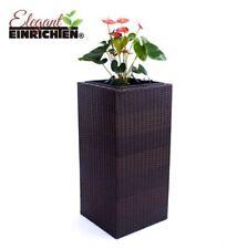 Pflanzkübel Blumenkübel Übertopf Polyrattan Säule 40x40x84cm Coffee-braun