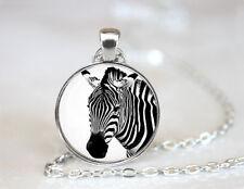 Vintage Zebra Jewelry Animal Dome Tibetan silver Glass Chain Pendant Necklace