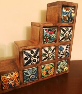 Hand Painted Mango Wood Stepped Trinket Box | 10 x Ceramic Drawers | Fair Trade
