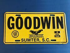 Goodwin Buick Jeep South Carolina Metal Front Booster License Plate Tag