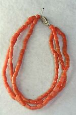 VICTORIAN ANTIQUE STERLING SILVER CORAL TUBE BEAD TRIPLE STRAND BRACELET NECKLAC