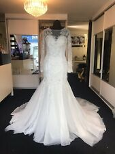 Ivory Lace Detail Wedding Dress Illusion Neckline Long Sleeve Full Length Train