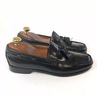 G H Bass & Co Black Leather Slip On Tassle Loafers Smart Dress Shoes US9 D UK8
