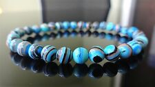 """Blue Banded Turquoise Gemstone Bead Bracelet for Men (On Stretch) 6mm AAA - 8"""""""