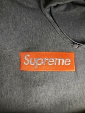 9bfda87b6526 Supreme Box Logo Hooded Sweatshirt Heather Grey Orange FW17 Hoodie Crewneck
