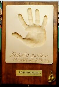 Boxer Roberto Duran Manos De Peidra Hand Of Stone Plaster Hand Print Plaque
