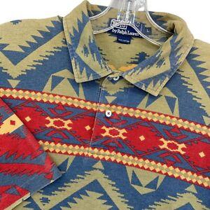 Vintage Polo Ralph Lauren Southwestern Aztec Polo Shirt Mens L Single Stitch VTG