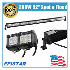 "52in 300W LED LIGHT BAR COMBO Offroad Truck 2X 4"" 18W CREE Fog Driving Jeep Lamp"