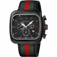 New Gucci Coupe Chronograph Black PVD Nylon Strap Red Green YA131202 44mm Watch