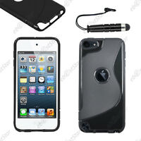 Housse Etui Coque Silicone S-line Gel Noir Apple iPod Touch 5G + Mini Stylet