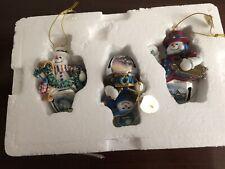 3 Thomas Kinkade Snow-Bell Holidays 2009 Snowman Ornaments Bradford Exchange