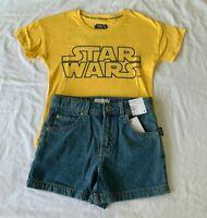 Girls size 8 Star Wars Yellow cotton t-shirt & blue denim shorts Target NEW