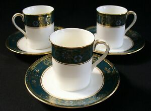 3~New~ROYAL DOULTON~Demitasse~CARLYLE~Cup and Saucer~PORCELAIN~England~GOLD TRIM